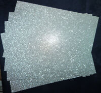 10 x Glitter Card Sheets - A6/C6 250gsm Card - Sparkling Silver 14.8 x 10.5cm