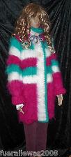 handgestrickt Strickjacke sehr ausgefallen Langhaar Mohair  L~XL hand knitted