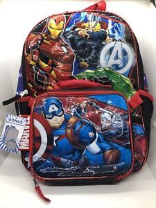 """Marvel Avengers Backpack 16"""" With Detachable Lunch Bag"""