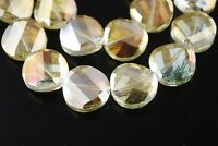 10pcs 12mm Twist Tile Faceted Crystal Glass Charm Loose Spacer Beads Citrine
