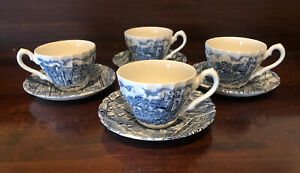 Vintage Alfred Meakin Cups And Saucers X 4 Blue And White The Post House 1970's