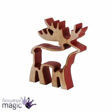Wooden 12cm Red Reindeer Deer Nordic 3D Cut Out Standing Christmas Decoration