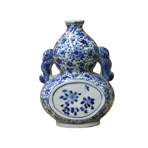 Chinese Blue White Porcelain Floral Scroll Graphic Small Vase ws1122