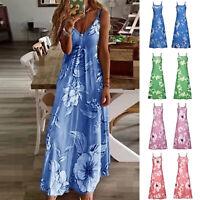Women Casual Loose Tie Dry Strappy Long Maxi Dress V Neck Boho Beach Sundress
