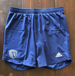 NWT Men's Adidas AeroReady MLS Kansas City Sporting Soccer Shorts Sz L $60