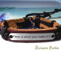 """Men's """"Time is What You Make of it"""" New Age Surfer Biker Leather Wristband"""