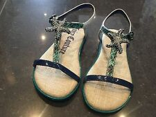 Juicy Couture New & Genuine Girls Green Leather Sandals UK 12, EU 31 With Logo