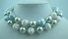 Vintage BLUE Double Strand Multi Strand Lucite Pearl White Bead Necklace
