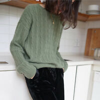 Women's 100% Cashmere Pullover Winter Sweater Long Sleeve Slim Knitted Sweater