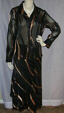 GIULIA GALANTI ITALY SZ 14 42 BUST BLACK & COPPER BLOUSE & TIERED SKIRT SUIT