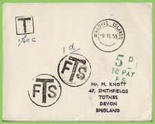Maldive Islands 1959 stampless cover with postage dues to England, SCARCE