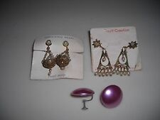 VINTAGE 1960's POST-BACK EARRINGS ON ORIGINAL CARDS-THREE SETS NEVER BEEN USED