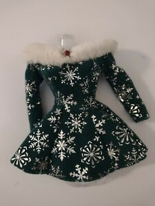 P, Christmas holiday Barbie green and silver snowflake fur trimmed dress, VGUC