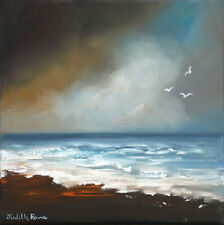 "Original Seascape Painting ""Stormy Skies"" 8"" x 8"" box canvas by Judith Rowe"