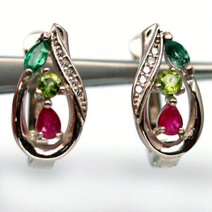 NATURAL RED RUBY, GREEN PERIDOT, EMERALD & WHITE CZ STERLING 925 SILVER EARRINGS