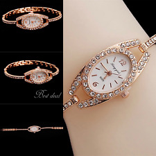 Ladies Wrist Watches Bracelet Analogue Stone On Strap Gold Colour Fashion Gift
