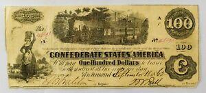 """1862 CSA Confederate Civil War $100 """"Railroad"""" Banknote - NO RESERVE - EH10"""
