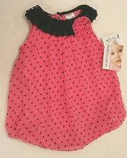 Baby Essentials Pink Black Polka Dot Dress Bubble Romper One Pc Outfit  3Mos NWT