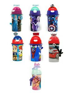 Kids Cartoon Character Flip Top  Water Bottle With Strap & Built in Straw 500ML