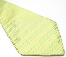 Ted Baker London Men's Tie 100% Silk Lime Yellow Stripped Necktie