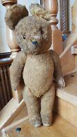 "22"" Antique German Teddy Bear Straw-Stuffed Mohair Joint Toy Growler Glass Eyes"
