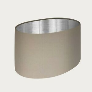 ** SALE ** Oval Lampshade Cream Velvet Brushed Silver Lining
