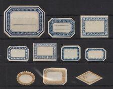 10 kleine Etiketten von ca. 1900 für Puppenstube, Kaufmannsladen, Restaurierung