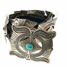"""Native American Sterling Silver Turquoise Stamped Concho Leather Belt 42"""""""