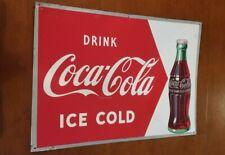 Vintage Original 1952 Drink Coca Cola Metal Sign 27X19 Soda Pop Advertising