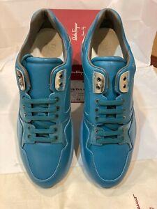 "Salvatore Ferragamo Men Leather Sneakers Size-10.5EE ""LISBONA4""Saxony Blue"