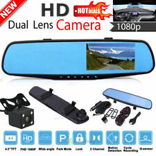 "HD 1080P 4.3"" Car DVR Rearview Mirror Dual Lens Camera Dash Cam Video Recorder"