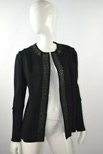 NWT $1,593 Marni Women's Blue Black Virgin Wool Embellished Coat Size 42 EUR
