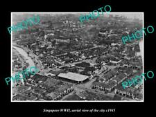 OLD LARGE HISTORIC PHOTO OF SINGAPORE WWII, AERIAL VIEW OF THE CITY c1945 8