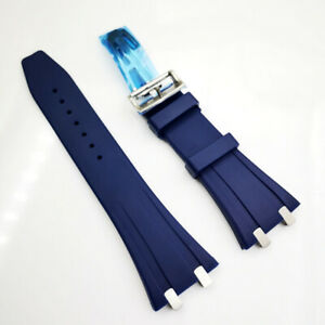 26mm Blue Rubber Band Stainless Steel Clasp Strap for AP 5400 15300 Royal Oak