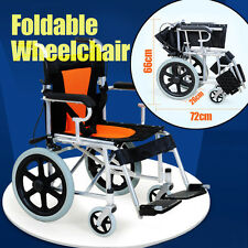 Folding Wheelchair 16 inch Manual Mobility Aid Light Weight 4 brakers