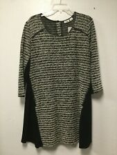2fbb6b027b Womens Knit Tunic Top Dress Size XL Black White Button Back Of Neck Cato  New 143