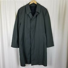 Clipper Mist All Weather Trench Coat Green Plaid Placket Front Mens 42 Vintage