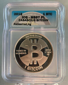2013 Casascius Silver 1 Bit Coin ICG MS67 Peeled- Unfunded - Holo & Key Attached