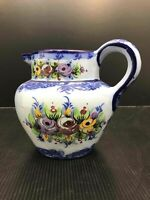 Vintage Vestal Alcobaca Hand-Painted Pitcher Portugal Pottery Blue Floral