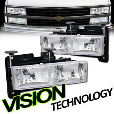For 88-00 Chevy/GMC C10 C/K Truck SUV Euro Chrome Clear Headlights Headlamps DY