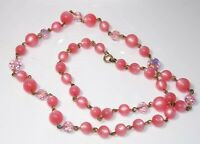 """Lovely Vintage Pink Thermoset Lucite Wired Bead Crystal Long 24"""" Necklace 3b 29"""