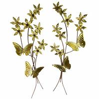 Vintage Home Interiors Brass Gold Tone Metal Butterflies Flowers Wall Decor Set