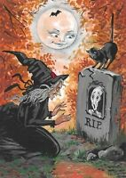 5X7 PRINT OF PAINTING RYTA HALLOWEEN BLACK CAT WITCH CEMETERY GHOST ART SALEM
