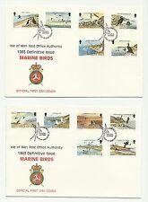 Isla De Man 1983 - 1985 aves marinas + £ 5 Reina Conjunto completo en 4 cubiertas de primer día
