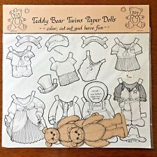 Teddy Bear Twins Paper Dolls Color and Cut Out