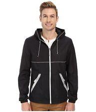 $230 Perry Ellis Mens Black Full Zip Nylon Hooded Reflective Tape Jacket Size S