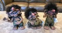 3pc Rare NyForm Trolls Lot Laughing Blow Tongue Hand in Pocket Norway #241