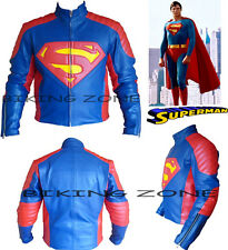 SUPERMAN STYLE MENS BLUE / RED CE ARMOUR MOTORBIKE / MOTORCYCLE LEATHER JACKET