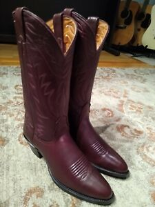 NOCONA BURGUNDY DEERTAN LEATHER ROUND TOE DRESS COWGIRL BOOTS #7511 WOMEN'S 7A