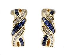 18k Yellow Gold Vintage Retro Twist Braided Sapphire & Diamond Huggie Earrings